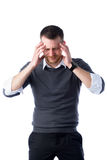 Stressed businessman with headache Stock Photo