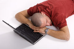 A Stressed Businessman With His Forehead Resting O Royalty Free Stock Photography