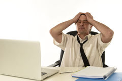 Stressed businessman on his 40s with loose tie and messy look g Stock Image