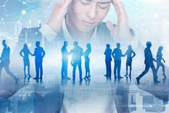 Stressed businessman, his team, polygonal network royalty free stock image