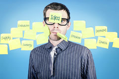 Stressed businessman with idea to solve problem Stock Images