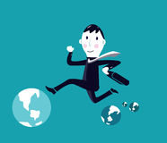 Stressed businessman jumping between globe Stock Image
