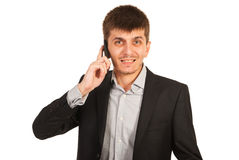 Stressed businessman by phone mobile Stock Image