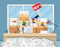 Stressed businessman in pile of office papers. And documents with help sign. Stress at work. Overworked. File folders. Carton boxes. Vector illustration in flat Stock Images