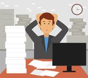 Stressed businessman in pile of office papers and documents tearing his hair out. royalty free illustration