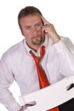 Stressed Businessman Posing Royalty Free Stock Images