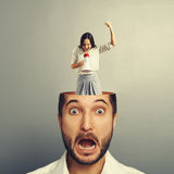 Stressed businessman with screaming woman Stock Photos