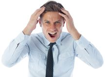 Stressed businessman shouting Stock Images