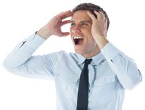Stressed businessman shouting Royalty Free Stock Image