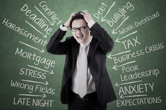Stressed businessman thinking his problems. Image of stressed businessman holding his head and thinking his problems Royalty Free Stock Photo