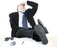 Stressed businessman. Tired in the office Royalty Free Stock Images