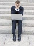Stressed Businessman Using Laptop Royalty Free Stock Photo