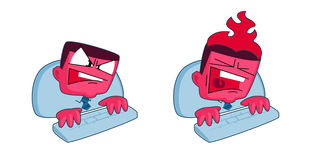 Stressed businessman. Vector cartoon style stressed businessman typing on computer and shouting. Head is burning. Deadline and stress concept illustrations Stock Image