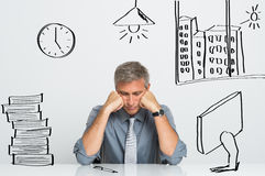 Stressed Businessman At Work stock photography