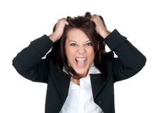 Stressed businesswoman. Ruffles her hair Royalty Free Stock Photos
