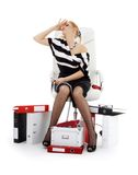 Stressed businesswoman in chair over white Stock Photo
