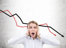 Stressed businesswoman and falling graphs Stock Photos