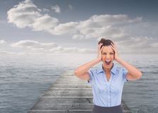 Stressed businesswoman with hand on her head Royalty Free Stock Photography