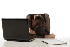 Stressed businesswoman with her head down Royalty Free Stock Images