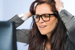 Stressed businesswoman overcharged with work Royalty Free Stock Photography