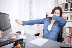 Stressed businesswoman reaching breaking point Royalty Free Stock Photography