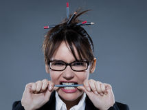 Stressed businesswoman secretary Stock Images