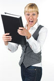 Stressed businesswoman shouts. Businesswoman in glasses holding folder Royalty Free Stock Image