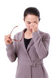 Stressed businesswoman suffers from headache, mental sickness Royalty Free Stock Images