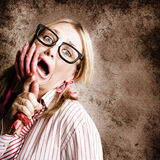Stressed Businesswoman Under Attack At Work Royalty Free Stock Images