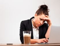 Stressed Businesswoman Under Pressure Royalty Free Stock Images