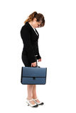 Stressed businesswoman on white Stock Photography