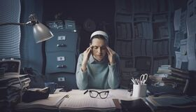 Free Stressed Businesswoman With Headache Royalty Free Stock Photography - 212015367