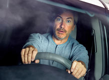 Stressed car driver. stock photos