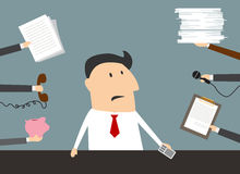 Stressed cartoon businessman has a lot of work Royalty Free Stock Image