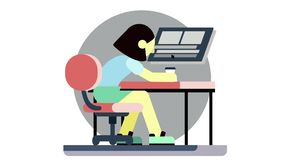 Stressed cartoon woman sitting at the table, working at the computer and drinking coffee. Animation. Tired office worker royalty free illustration