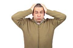 Stressed casual man stock photos