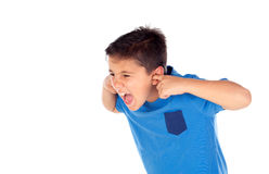 Stressed child covering his ears Stock Photography