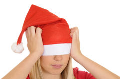 Stressed christmas girl Royalty Free Stock Photos