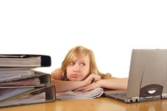 Stressed college student. A girl studying hard for college Royalty Free Stock Photos