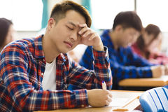 Stressed college student  for exam Royalty Free Stock Images