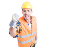 Stressed constructor yelling and standing with fist up Royalty Free Stock Photos