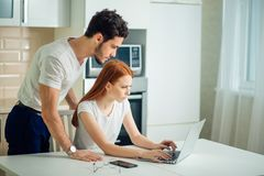 Stressed couple in trouble, have no money to pay debts, to pay rent. For appartment. couple having financial troubles. Household budget Stock Image