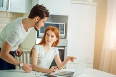 Stressed couple in trouble, have no money to pay debts, to pay rent. For appartment. couple having financial troubles. Household budget Royalty Free Stock Images