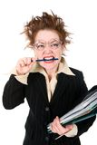 Stressed crazy Businesswoman Stock Photo