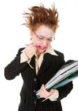 Stressed crazy Businesswoman Royalty Free Stock Photo