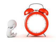 Stressed 3D Character with Alarm Clock Stock Images