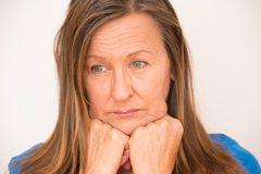 Stressed depressed mature woman Royalty Free Stock Photo