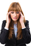 Stressed and depressed young atractive businesswoman Stock Images