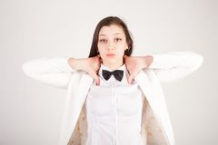 Stressed and depressed young businesswoman Royalty Free Stock Images