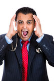 =stressed doctor-businessman with headache Stock Photo